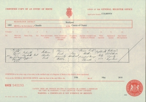 Gabrielle Ray – Birth Certificate – 1883
