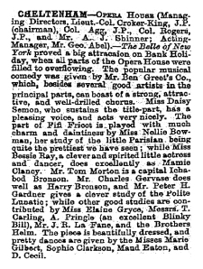 Bessie Ray - The Belle of New York - The Stage - Cheltenham 9th August 1900