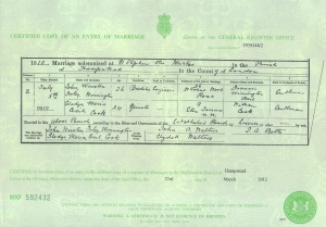 Gladys Raymond - Marriage Certificate - 5th July 1910