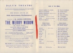 The Merry Widow - First Anniversary Programme Cast - 3rd June 1908