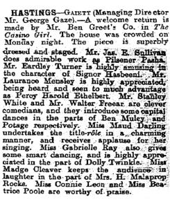 Hastings - The Casino Girl  - 4th September 1902