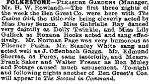 Casino Girl - Folkestone - The Stage - 2nd  April 1903
