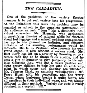 The Palladium - The Times - 17 Aug 1920