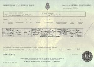 William Austin Cook - Death Certificate
