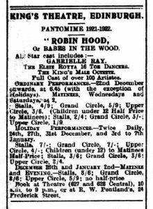 Robin Hood, or Babes in the Wood - The Southern Reporter - 29th December 1921