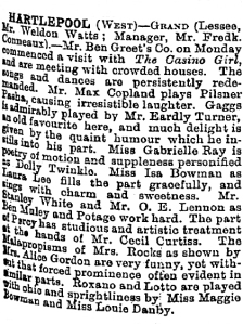 The Casino Girl - Hartlepool - The Stage - 20th March 1902