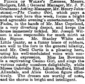The Casino Girl - Birmingham - The Stage - 10th October 1901