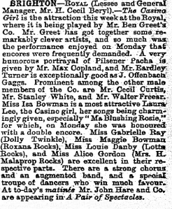 The Casino Girl - Brighton - The Stage - 23rd January 1902