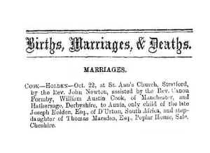 William Austin Cook - Marriage - The Derby Mercury - 5th November 1873