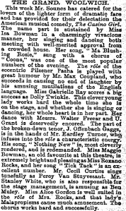 The Casino Girl - The Grand Wollwich The Casino Girl  6th February 1902