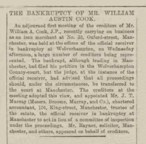 William Austin Cook - The Manchester Courier and Lancashire General Advertiser - 9th October 1885
