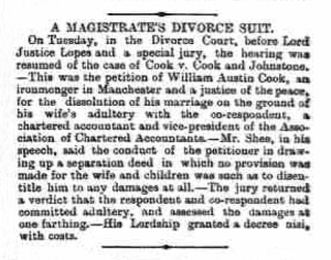 William Austin Cook - The Leicester Chronicle and Leicestershire Mercury - 18th February 1893