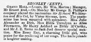 Bessie Ray - Sir Richard Whittington and His Cat - The Era - Saturday 18th January 1896