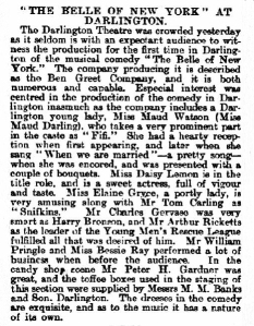 Bessie Ray - The Belle of New York - Daily Gazette for Middlesbrough - Tuesday 27 November 1900 Darlington