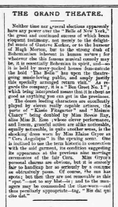 Bessie Ray - The Belle of New York - The Bedfordshire Advertiser - 12th October 1900