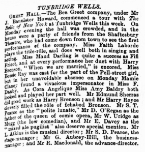 Bessie Ray - The Belle of New York - The Era - Saturday 05 August 1899 Tunbridge Wells