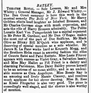 Bessie Ray - The Belle of New York - The Era - Saturday 05 May 1900 Batley