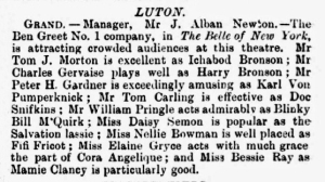Bessie Ray - The Belle of New York - The Era - Saturday 13 October 1900 Luton