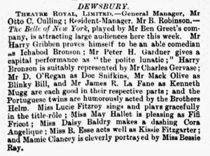 Bessie Ray - The Belle of New York - The Era - Saturday 31 March 1900 Dewsbury