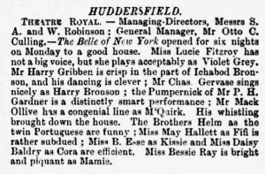 Bessie Ray - The Belle of New York - The Era - Saturday 07 April 1900 Huddersfield