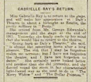 Gabrielle Ray - Betty - Liverpool Echo - Saturday 25 September 1915