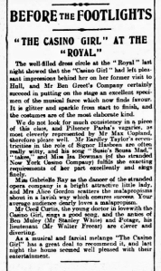 Gabrielle Ray - The Casino Girl - Hull Daily Mail - Tuesday 18 February 1902