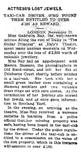 Actress's lost jewels - The Daily News, Perth -  Wednesday 22 December 1909