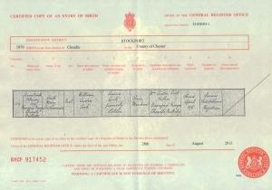 Edith Mary Ferdinanda Cook - Birth Certificate - 17th February 1876