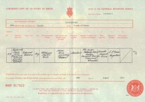 Edward Holden Cook - Birth Certificate - 16th June 1884