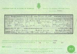 Edith Mary Ferdinainde Cook - Marriage Certificate - 30th April 1896