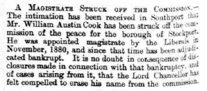 William Austin Cook - Lancaster Gazette - Saturday 03 August 1889