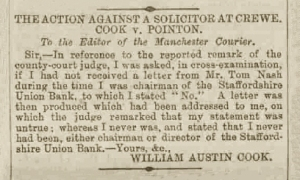 William Austin Cook - Manchester Courier and Lancashire General Advertiser - Friday 24 October 1884