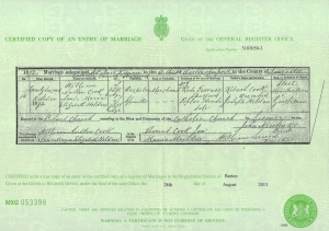 William Austin Cook - Marriage Certificate - 22nd October 1873