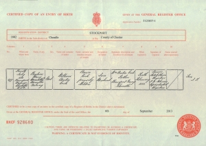 Beatrice Mary Marcella Galway Cook - Birth Certificate - 4th July 1881