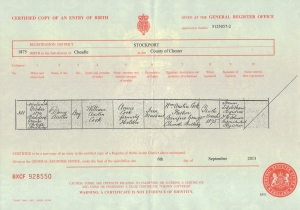 D'arcy Austin Cook - Birth Certificate - 19th October 1874