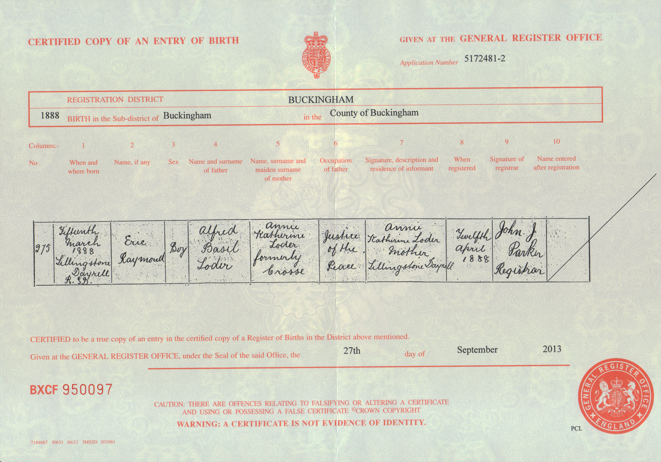 Birth certificate gabrielle ray eric loder birth certificate 15th march 1888 aiddatafo Gallery