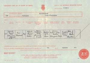 Eric Loder - Birth Certificate - 15th March 1888