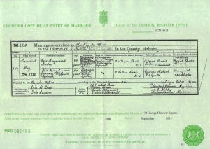 Eric Loder - Marriage Certificate - 1920