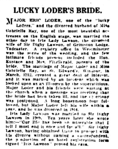 Eric Loder - The World News (NSW) - 17th July 1920