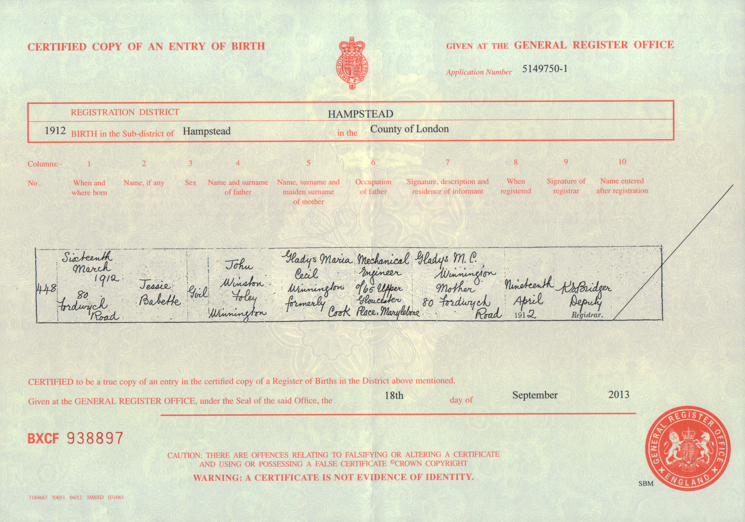 Birth certificate gabrielle ray jessie babette winnington birth certificate 16th march 1912 aiddatafo Images