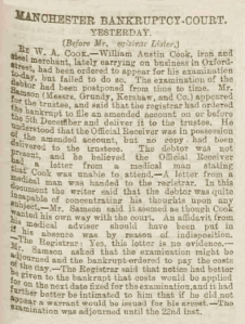 William Austin Cook - Manchester Courier and Lancashire General Advertiser - Friday 11 December 1885