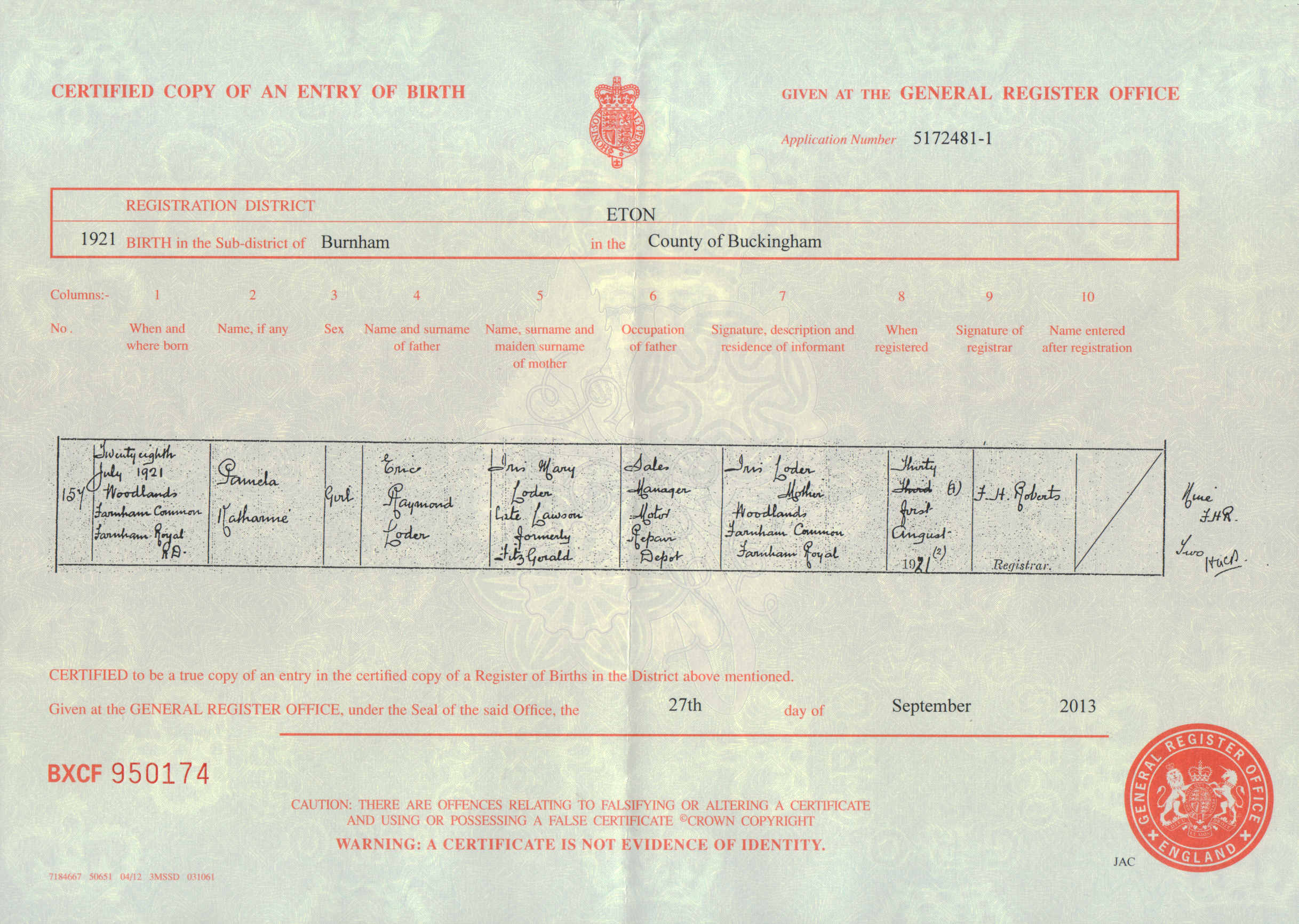 2013 september gabrielle ray pamela loder birth certificate 28th july 1921 aiddatafo Image collections
