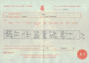 Pamela Loder - Birth Certificate - 1921