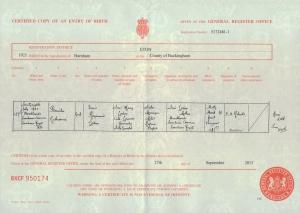 Pamela Loder - Birth Certificate - 28th July 1921