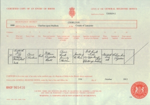 Annie Barbara Cook - Birth Certificate - 1888