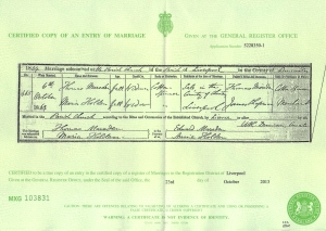 Maria Holden / Thomas Marsden - Marriage Certificate - 6th October 1869