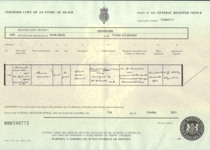 Thomas Marsden - Death Certificate - 13th November 1901