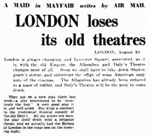 Daly's Theatre - The Advertiser (Adelaide) - Tuesday 26th August 1937