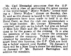 The Merry Widow Dinner - Derby Daily Telegraph - Monday 21 December 1908
