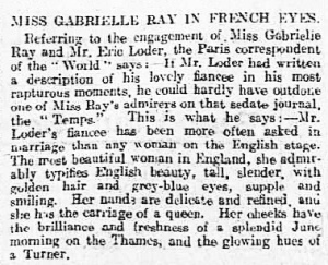 Gabrielle Ray - Luton Times and Advertiser - Friday 19 January 1912